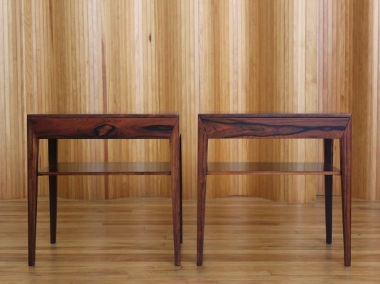 Pair of Severin Hansen rosewood bedside drawers by Haslev Denmark