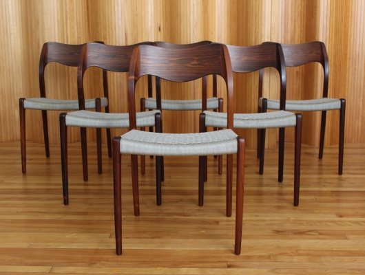 Set of 6 Niels Moller model 71 rosewood dining chairs by JL Moller Denmark