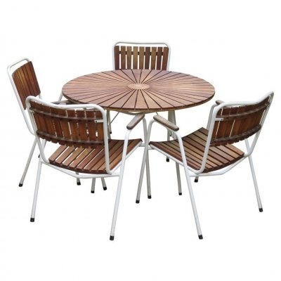 Daneline Garden Teak Table & set of 4 Stackable Chairs