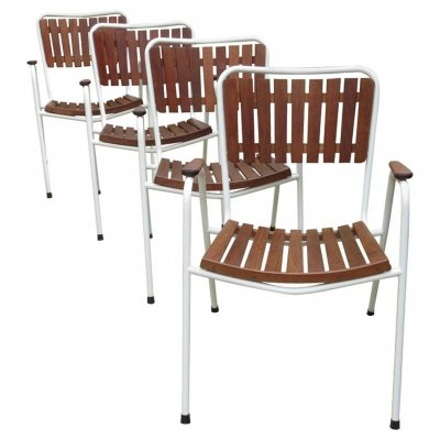 Set of 4 Danish Daneline Teak Stacking Garden Chairs, 1960s