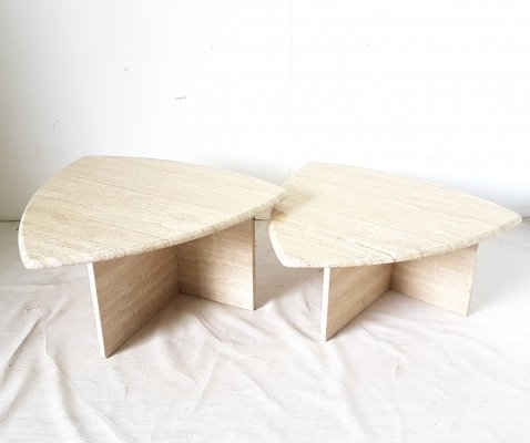 Triangle shaped travertine side tables, Italy 1970s