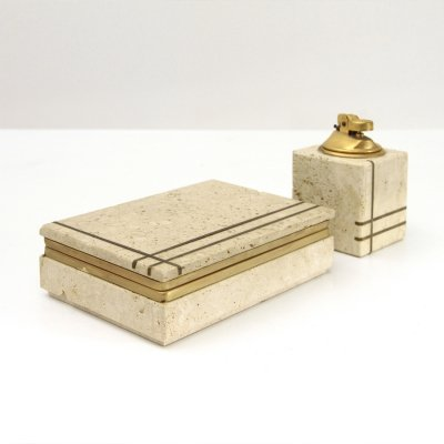 Midcentury travertine & brass smoking set by G. Ulivieri for Cerri Nestore, 1960s