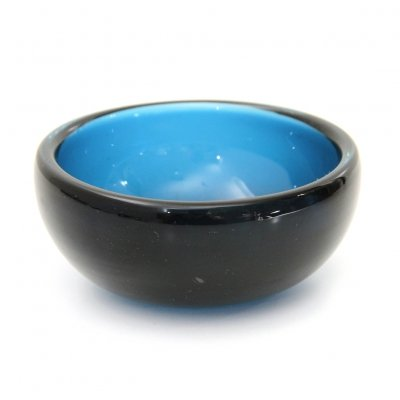 Midcentury blue Murano glass bowl by Venini, 1960s