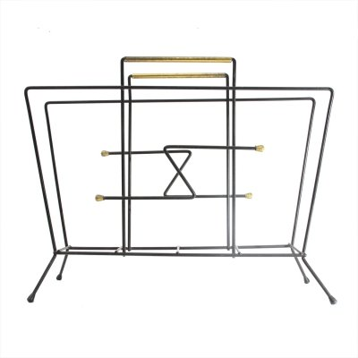 Midcentury black metal & brass italian magazine rack, 1950s