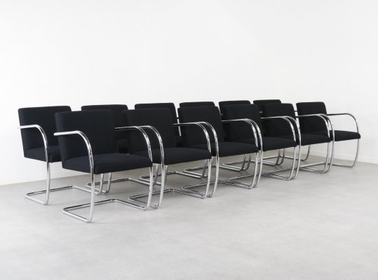 Set of 12 tubular BRNO chairs by Ludwig Mies van der Rohe for Knoll