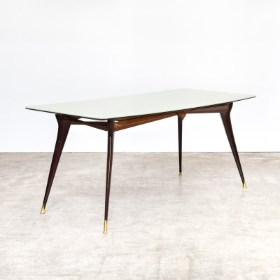 Luxury detailed italian wood, brass dining table with colored glass table top