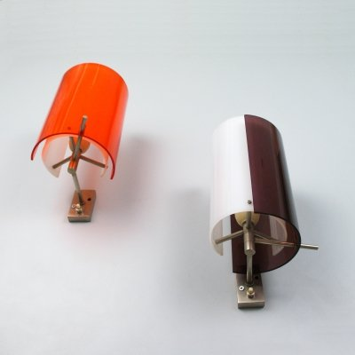 Pair of Italian wall lamps with adjustable double perspex shade