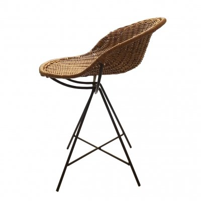 Architectural Italian 1950s Rattan Chair