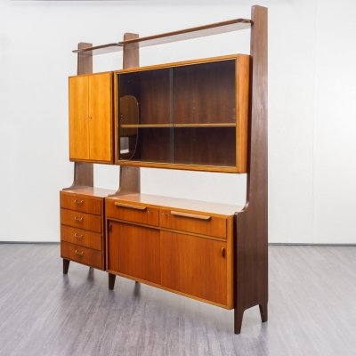 Large midcentury free standing shelving unit / cupboard by Erwin Behr, Germany 1950s