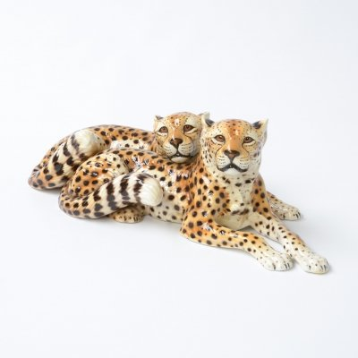 Porcelain Sculpture of Reclining Cheetahs by Ronzan, Italy