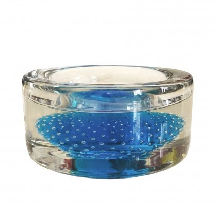 1970's Sommerso Blue Murano Glass Ashtray with Bubbles