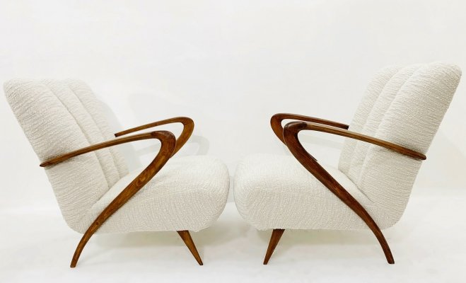 Pair of Paolo Buffa Armchairs, Italy 1950s