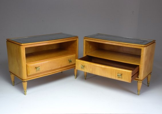 Pair of Italian Mid-Century Maple Wood Nightstands, 1940's