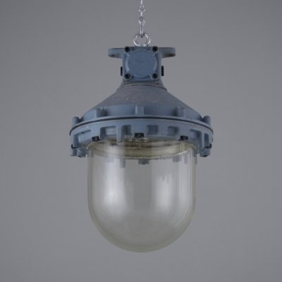 XL blue industrial factory pendant lights by Victor, 1940s