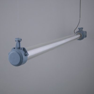 Industrial blue linear LED lights by Victor, 1960s