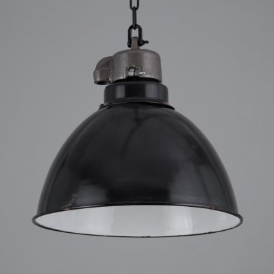 Industrial German black enamel factory lights, 1930s
