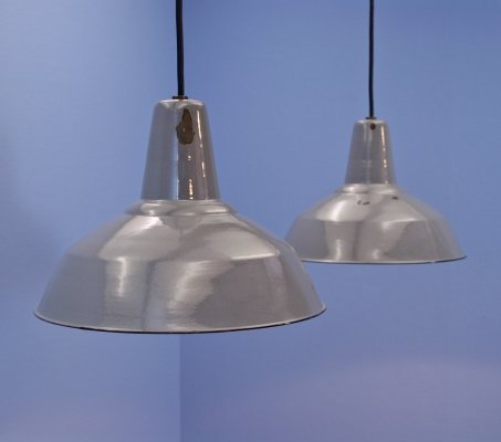 Set of 2 industrial hanging lamps in grey, 1960s