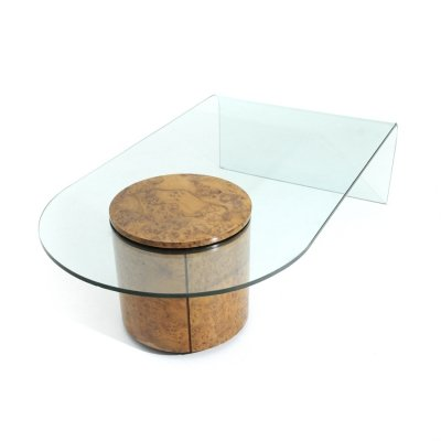 Briar wood & glass coffee table with bar by Roberto Volonterio & Cesare Benedetti for Longhi, 1990s