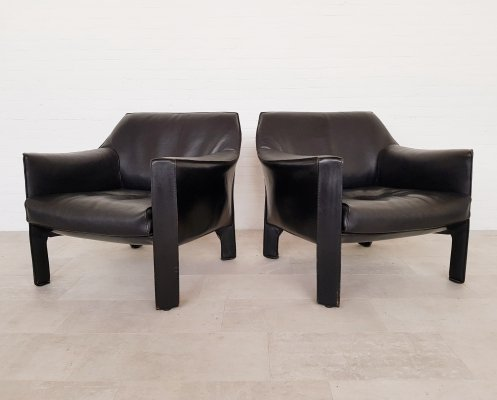 Cassina CAB 415 black leather lounge chairs by Mario Bellini, 1980s