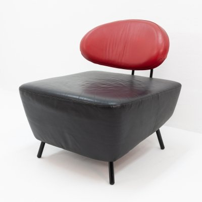 Black on red leather lounge chair by Staccato Van IQ for Multifoam