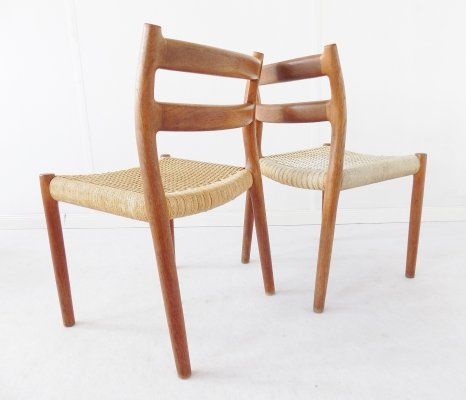 Pair of No. 84 dining chairs by Niels Otto Møller for JL Møller Møbelfabrik, 1960s