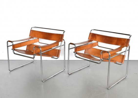 Pair of Wassily B3 lounge chairs by Marcel Breuer for Fasem, 1960s