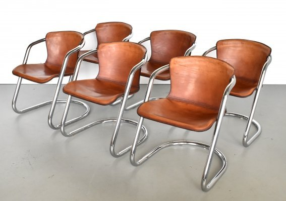Set of 6 dining chairs by Willy Rizzo for Cidue, 1970s