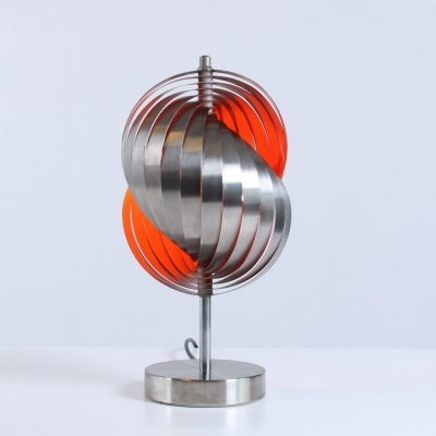 Twirling steel & orange table light by Henri Mathieu, 1960s