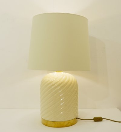 Ceramic And Brass Table Lamp by Tommaso Barbi, Italy 1960s