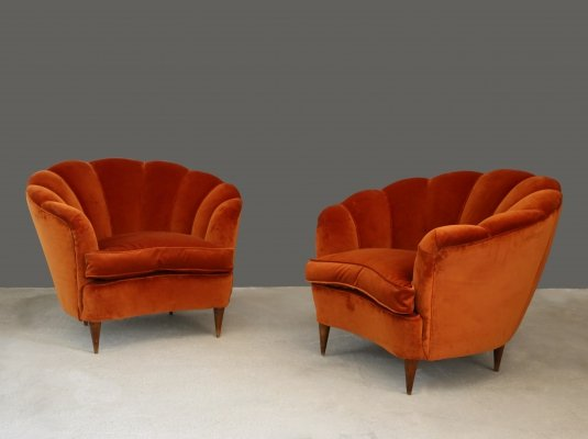 Pair of shell-shaped armchairs, 1950s