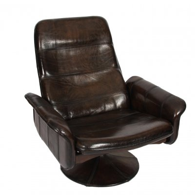 Leather Lounge Chair with Ottoman by De Sede