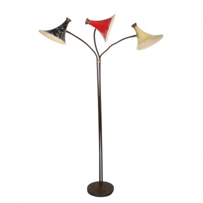 Painted Metal Floor Lamp with Three Shades