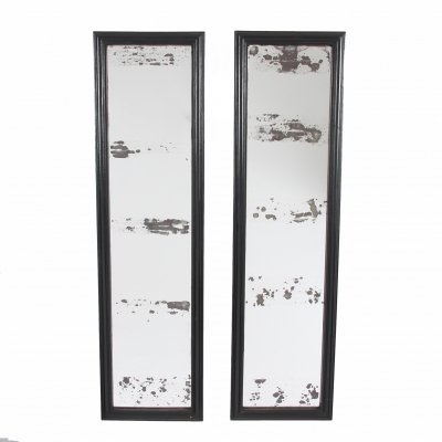 Set of Four Ebonised Shop Mirrors