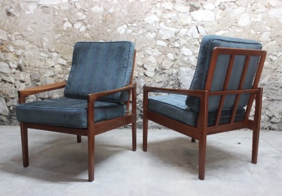 Set of two vintage teak scandinavian style lounge chairs, 1960s