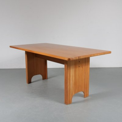 Swedish pine dining table by Yngve Ekstrom for Swedese, 1960s