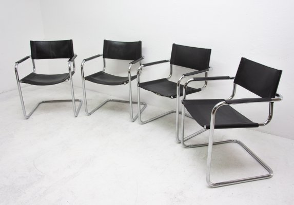 Set of 4 S34 arm chairs by Mart Stam, 1980s