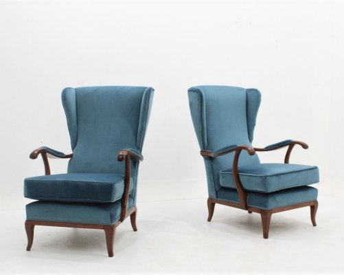 Pair of Italian design mid century velvet armchairs by Paolo Buffa, 1940s