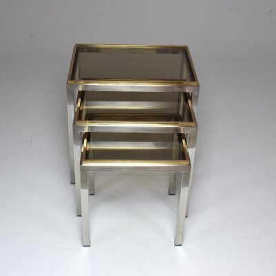 Set of 3 Italian Vintage Nesting Tables by Willy Rizzo, 1970's