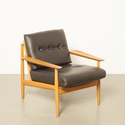 Black leather Danish armchair, 1950s
