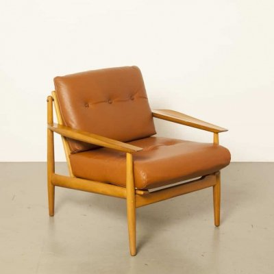 Brown leather Danish armchair, 1950s