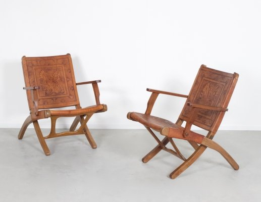 Leather Folding Chairs by Angel Pazmino for Muebles De Estilo, 1960s