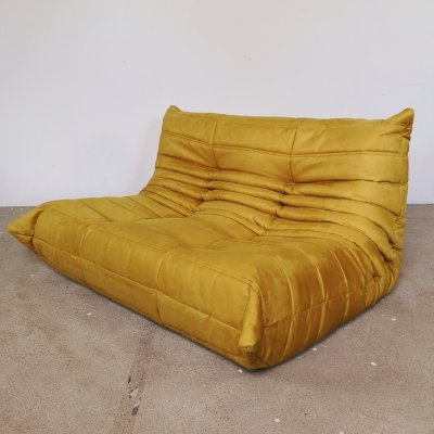 Yellow velvet Togo sofa by Michel Ducaroy for Ligne Roset, 1960s