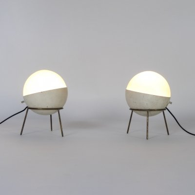 Set of 2 labeled tripod table lamps for Stilnovo, 1950s