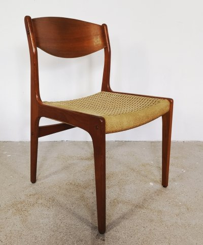 Set of 4 dining chairs with papercord seats, 1950s