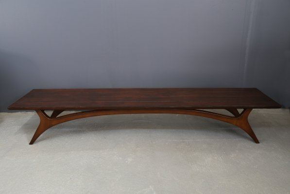 Vladimir Kagan bench in Mahogany, 1960s