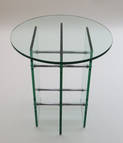 1970s Swiss Modernist Glass & Nickel Side Table