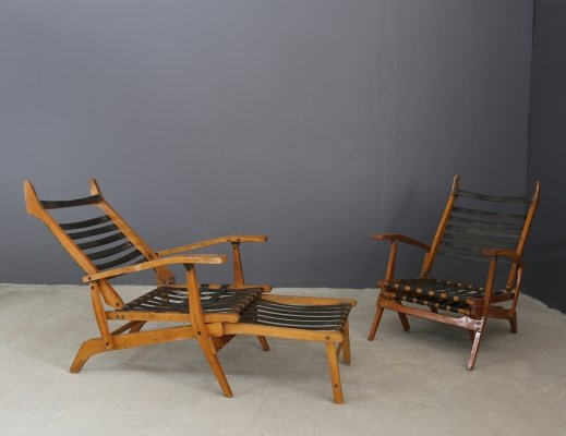 Pair of Folding deck chairs by BBPR, 1950s