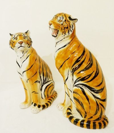 Pair of Large Italian Glazed Terracotta Tigers, 1960s