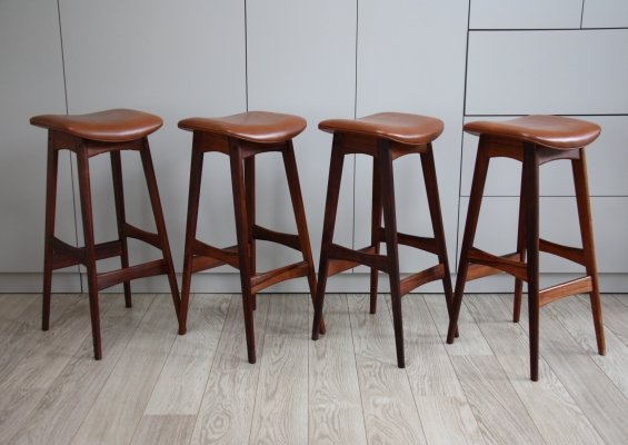 Set of 4 rosewood & leather bar stools by Erik Buch for Dyrlund, Denmark 1960's