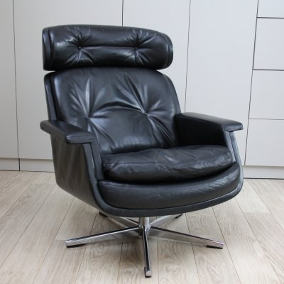 Black Leather Swivel lounge chair by Eugen Schmidt, Germany 1960's